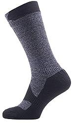 SealSkinz Walking Mid  Socks, Dark Grey Marl/Black, L