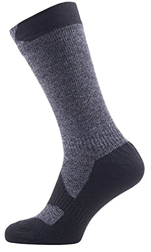 SealSkinz Walking Mid                                                  Socks, Dark Grey Marl/Black, L Gore Nylon Boot