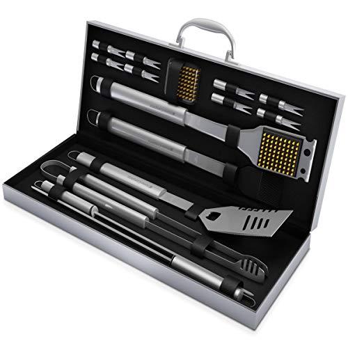 Home-Complete Lot d'accessoires de Barbecue avec 16 Accessoires de Barbecue – Ustensiles en Acier Inoxydable avec étui en Aluminium – Kit Complet extérieur Griller