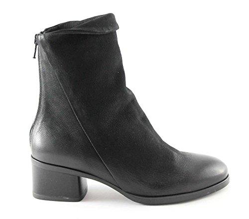 CAF NOIR HH711 bottes noires socket zip femmes, cuir talon bas