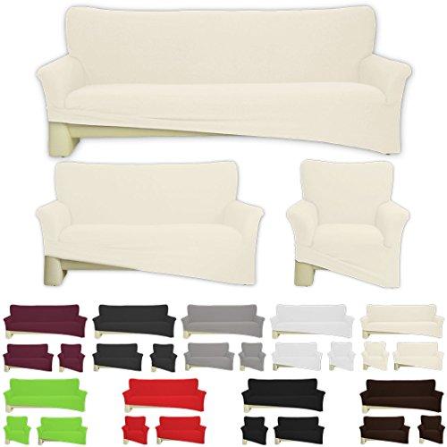 Nurtextil24 Sofahussen Bi-elastisch Jersey 10 Farben und 3 Größen Baumwolle Creme für 1er Sessel