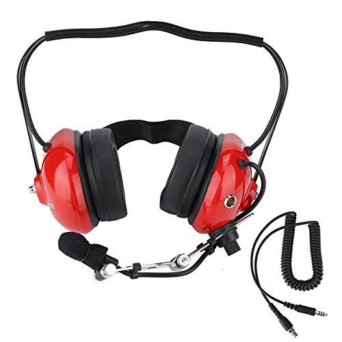 Pilot Aviation Headset, multifunktionales, Robustes Zwei-Wege-Funkkopfhörer-Headset nach Militärstandard mit Geräuschunterdrückung für Autorennen und den Betrieb (rot). - Electronic Noise Cancelling Aviation Headset