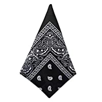 Jueshanzj Men Paisley Print Scarf Wristband Head Wrap Bandana Black One Size