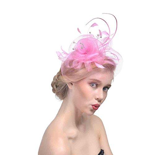 ZYCC Hochzeit Fascinator Haarclip Gaze Blume Feder Braut Hut Formal Party Kirche (Rosa) - Hüte Der Mutter Braut