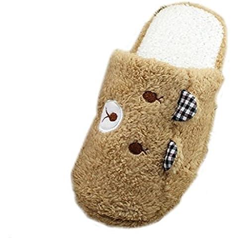 Sannysis zapatillas mujer, Emoji Emoticon Zapatos diseño de oso (6, Café)