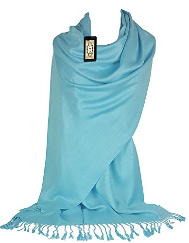 GFM Fastglas liss'au toucher Ultra doux Style cachemire Pashmina Écharpe de portage B9HLNL2 - Light Blue 2
