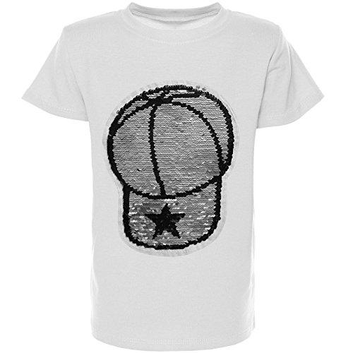 BEZLIT Kinder Jungen Cap T-Shirt Wendepailletten Stretch Shirt 21352, Farbe:Weiß;Größe:164