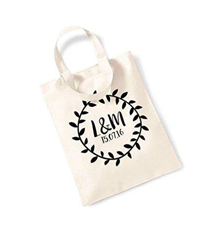 Bridal Monogram Wreath - Small Canvas Fun Slogan Tote Bag (Natural/Black) -