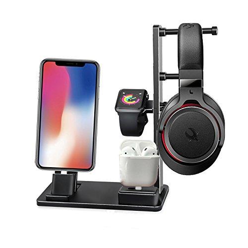BECEMURU 6 in 1 Apple Watch Stand Lega di alluminio iWatch Base di ricarica iPhone iPad Dock Station Supporto per auricolari per iPad, Apple Watch Series, AirPods e iPhone 8/8 Plus/X/7/7 Plus/6/6 Plus (nero)