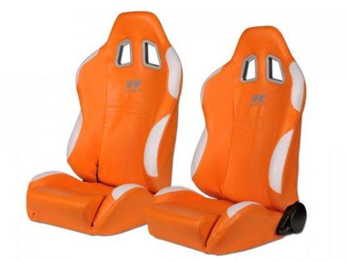 FK-Automotive Sportsitz Set New York 1xlinks+1xrechts orange weiàŸ, Naht weiàŸ