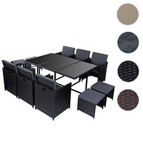 Poly-Rattan Garten-Garnitur Kreta, Lounge-Set Sitzgruppe 10 Sitzplätze ~ schwarz, Kissen grau