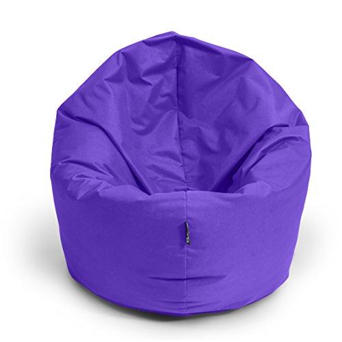 BuBiBag Sitzsack 2-in-1 Funktionen mit Füllung Sitzkissen Bodenkissen Kissen Sessel BeanBag (100cm Durchmesser, lila)