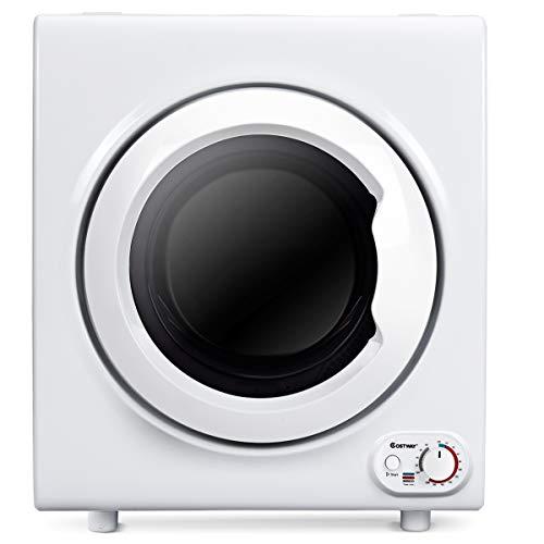 Goplus libera installazione asciugatrice centrifuga a pompa di calore silenzioso carica frontale capacità 4kg/75l, 1400w bianco asciugatrice
