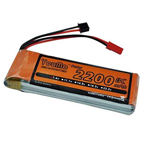 Youme Empfänger & Sender LiPo Batterie Pack 2S 2200mAh 7,4V 8C mit JST Stecker für Hubsan H501S X4 FPV Brushless Quadcopter (Redcat Buggy Brushless)