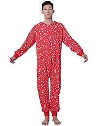 BESBOMIG Divertidos Familia Impreso Encapuchado Ropa de Casa Pijama de Mono Conjunto para Mujeres, Hombres