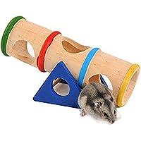 Toruiwa Balançoire à Bascule Tunnel Jouet Tonneau pour Hamster Souris en Bois