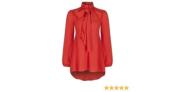 05beb2f8db22fa Ladies Elegant Classic Orange Chiffon Crepe Pussy Bow Tie Neck Blouse:  Amazon.co.uk: Clothing