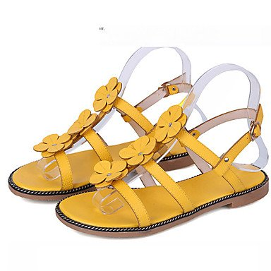 zhENfu Donna Sandali Comfort PU Primavera Estate informale comfort Applique tacco piatto di terra Marrone Giallo Piatto bianco Yellow