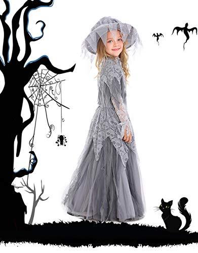 MTSBW Halloween-Geist-Prinzessin Bridal Flower Kids Festival Kinder Hexe Tragen,XL