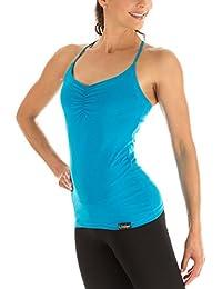 Winshape Spaghetti Strap Top Fitness Yoga Pilates - Camiseta sin mangas de running para mujer, color Turquesa, talla L