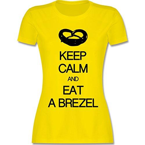 ... Rundhalsausschnitt für Damen Lemon Gelb. Oktoberfest Damen - Keep calm  and eat a brezel - tailliertes Premium T-Shirt mit