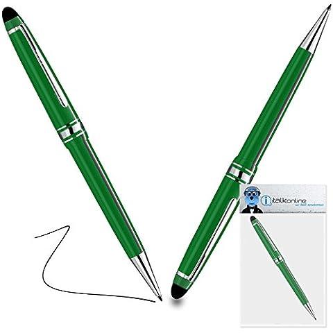 iTALKonline Microsoft Surface RT Verde PRO Captive Toccare Punta penna stilo con punta in gomma con Rullo di Penna