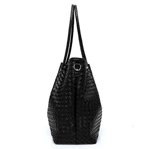PDFGO Handtaschen Tote Bag Mode Schultertasche Woven Tasche PU Tasche Hand Messenger Bag Beige