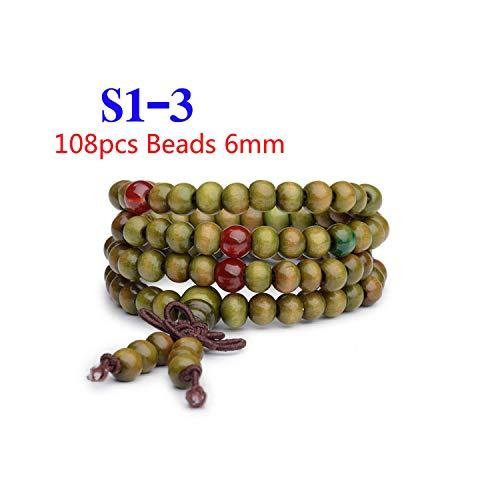 Awertaweyt Armband aus Glasperlen, Pulseras 108 Beads 6Mm Natural Sandalwood Wood Prayer Bead Mala Unisex Men Bracelets & Bangles Jewelry S1-3 -