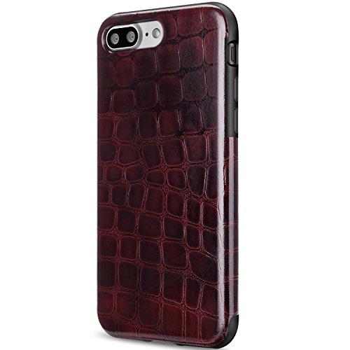 TENDLIN Coque iPhone 8 Cuir Crocodile Lisse et Flexible TPU Silicone Hybride Souple Housse Etui pour iPhone 7 et iPhone 8 (Rouge Foncé) Rouge Sombre