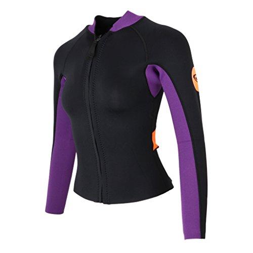 Homyl Premium Damen 3mm Neopren Schwimmanzug Jacke Wetsuit Jacket Neoprenanzug Tauchanzug Wassersport Oberteile Top - L