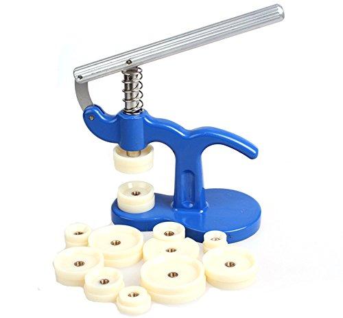Malayas®Uhrwerkzeug Einpresswerkzeug Uhrenschließer Gehäuseschließer mit 12 Druckplatten Kunststoffeinsätze für Uhrmacher, Uhr Reparatur Werkzeug Set
