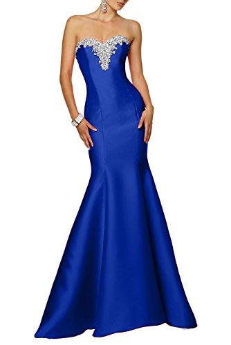 Charmant Damen 2017 Neu Satin Steine Abendkleider Partykleider Ballkleider Meerjungfrau Figurbetont Rock Lang Royal Blau
