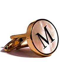 Digabi Initial Letter Cufflinks 18K White Gold Mother of Pearl