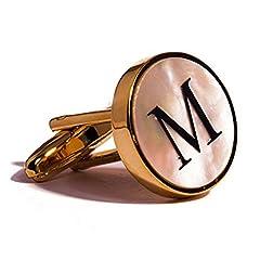 Idea Regalo - Digabi - Gemelli da polso con lettera dell'alfabeto, oro 18K, madreperla, placcato platinum, colore: Gold M, cod. SY-18023-CD060-A