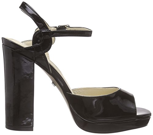 Buffalo London 315-4677 PATENT PU Damen Plateau Sandalen mit Blockabsatz Schwarz (Black 01)