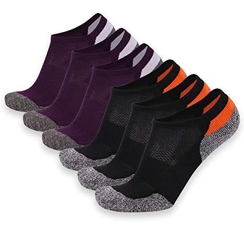 Zeit und River Running Knöchel Socke, Feuchtigkeitstransport Unisex Wandern Socke 1,6Paar, Damen Herren, Black&Purple 6 Pairs, Einheitsgröße -