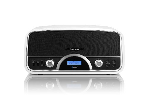 Lenco SR-05 BT Retro RDS Radio mit Bluetooth und USB Lader (30 Watt RMS, 2 Lautsprecher, Holzgehäuse, AUX, Fernbedienung) weiß