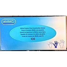 Alvita Non-Sterile Nitrile Powder-Free Examination Gloves - Medium (100) by