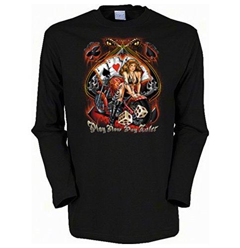 Cooles Herren Langarmshirt, Farbe: Schwarz, USA Biker Motiv: Play Now Schwarz