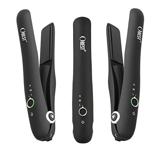 OBEST NEW Mini Fer à Lisser Rechargeable 20CM Lisseurs Cheveux de Voyage et Déplacement Portable en Céramique pour Tous les Type de Cheveux et tous les Appareils USB-recharge