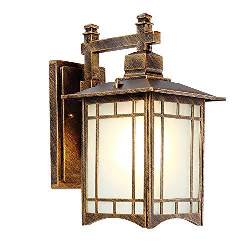 Retro LED Außen-Wandleuchte Bronze Aluminiumguss Und Glas Schatten Gartenlampe IP44 Wand-Außenleuchte Hoflampe Außenlampe Wandlichte Abmessungen (B X H X T): 18 X 34 X 24 Cm -