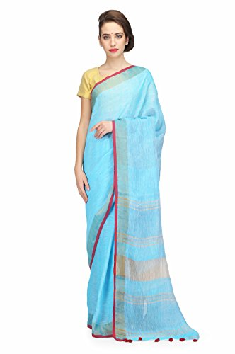 The Weave Traveller Handloom Pure Linen By Linen Saree With Blouse (Blue)