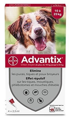ADVANTIX Chien Moyen - Anti-Puces et Anti-Tiques - 10-25KG - 4 Pipettes