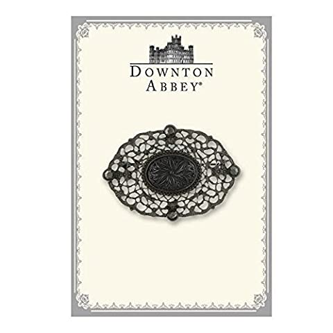 Downton Abbey Boxed Black-Tone Oval Filigree Brooch by Downton Abbey