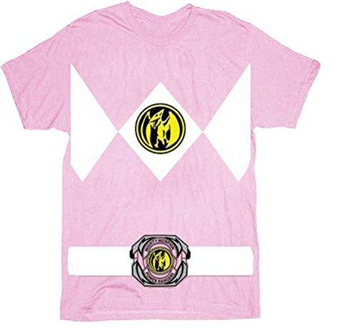 Power Rangers Pink Rangers Kostüm Erwachsene T-Shirt (Ranger Power Kostüm Rosa)