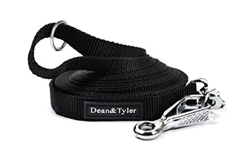 Dean & Tyler Track Single Ply Black Nylon 150-Feet by 3/4-Inch Dog Leash with a Stainless Steel Ring on Handle and Herm Sprenger Snap