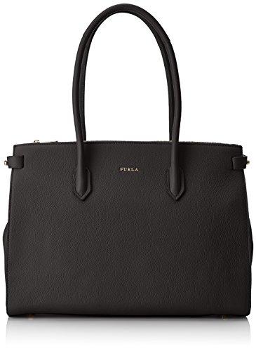 FURLA Damen Pin M Tote E/w Business Tasche, Schwarz (Onyx), 11x27x36 cm (Furla Leder Tasche)