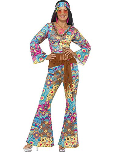 Abba Frauen Kostüm - Luxuspiraten - Damen Frauen 60er Jahre Woodstock Hippie Kostüm mit Flower Power Oberteil, Schlaghose, Gürtel und Haarband, perfekt für Karneval, Fasching und Fastnacht, S, Blau