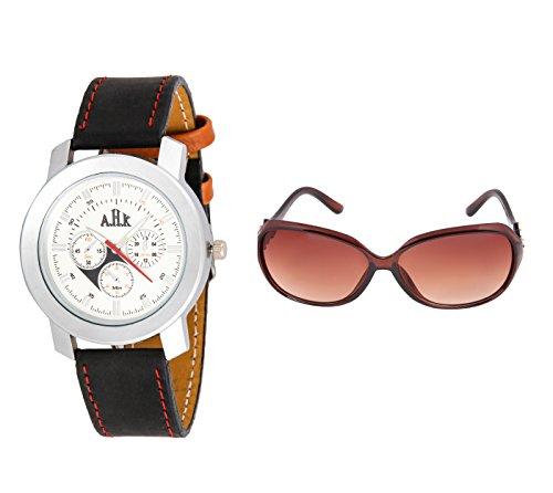AHK Combo silver Artificial Pattern Analog Wrist Watch and Women,Girl Over-sized Sunglass (watch, stylish watch, analog watch, designer watch, partywear watch, trendy watch, sunglasses, womens sunglasses, sunglass for women)