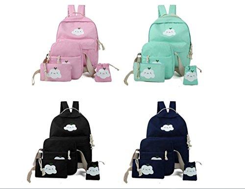X&L Frauen's Rucksack Leinwand Mode vierteilige Set Pack Pink